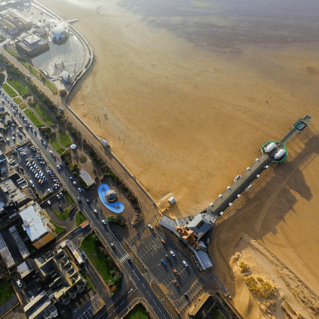 A drone's eye view of St Annes pier.
