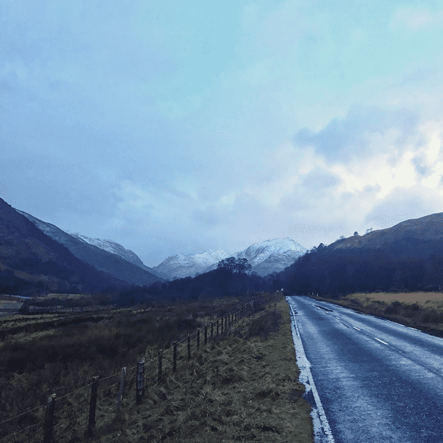 Snowy Scotland near Fort William.